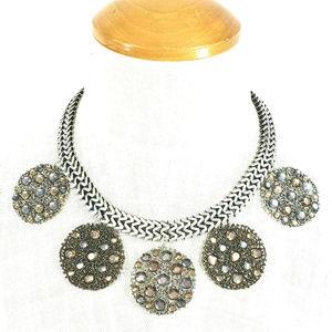Chico's Antique Silver Bronze Statement Necklace